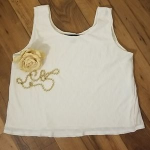 Cream waffle knit lined tank, career, sz L. Lined
